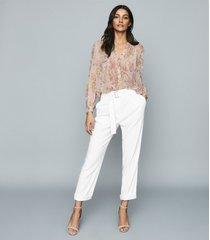 reiss handan - floral chiffon blouse in pink, womens, size 12