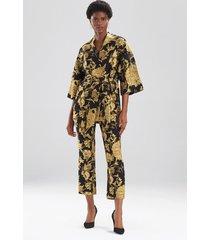 natori gold flower jacquard jacket, women's, black, cotton, size l natori