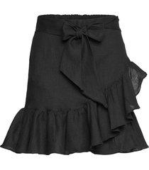 julli linen skirt kort kjol svart ella&il