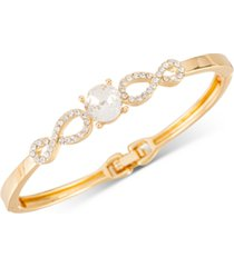 charter club gold-tone stone & pave openwork hinge bracelet, created for macy's