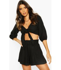linen off shoulder tie front top, black