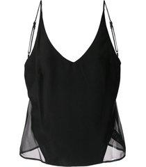 j brand camisola lucy com recorte translúcido - preto