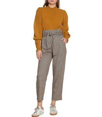 walter baker women's logan pants - caramel tweed multi - size 2