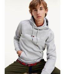 tommy hilfiger men's fleece logo hoodie grey - xxl