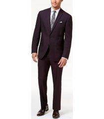 kenneth cole reaction men's ready flex slim-fit burgundy iridescent suit
