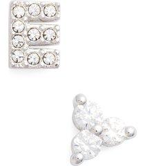 women's nadri initial mismatched stud earrings