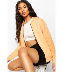 boohoo woman zip through jacket, orange