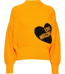 wsg8520x9001 stickad tröja gul love moschino