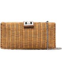 rodo woven-wicker clutch bag - neutrals