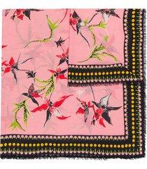 la doublej orchidea print scarf - pink