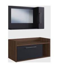 conjunto de balcáo e espelheira p/ banheiro aiden preto e madeirado escuro e estilare móveis