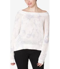 ultra flirt juniors' cotton tie-dyed off-the-shoulder sweater
