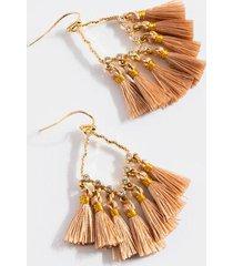 mariana cz medallion tassel earrings - champagne