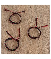 cotton braided wristband bracelets, 'scarlet braid' (set of 3) (mexico)