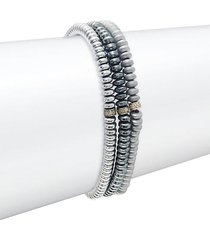 3-piece sterling silver, hematite & diamond bead bracelet set