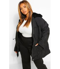 plus lichte faux fur parka jas, zwart
