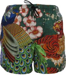 men's boxer swimsuit with oriental print