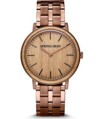 original grain men's whiskey espresso stainless steel bracelet watch 40mm