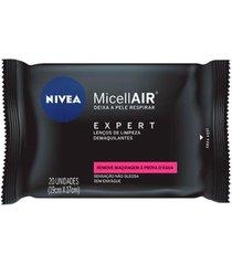 lenços de limpeza demaquilantes micelar nivea - micellair expert 20un