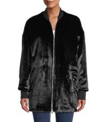 redvalentino women's velvet longline bomber jacket - nero - size 40 (8)
