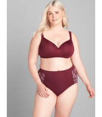 lane bryant women's level 1 smoother full brief panty 14/16 zinfandel lace
