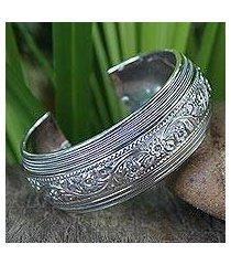 sterling silver cuff bracelet, 'floral imagination' (thailand)