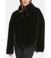 dkny hooded faux-fur jacket