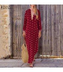 zanzea cuello en v para mujer del lunar de la playa de vestir de manga larga de las señoras vestidos maxi vestido de tirantes -rojo