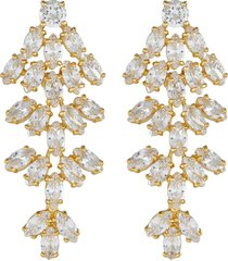 cluster leaf cubic zirconia statement earrings