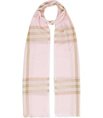 burberry lightweight check wool silk scarf - pink