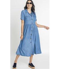 vestido camisero manga roll up azul curvi