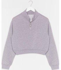 womens get zip done cropped sweatshirt - grey