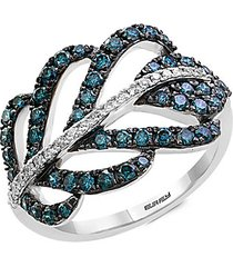 14k white gold, blue & white diamond ring