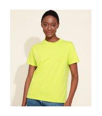 t-shirt feminina mindset básica manga curta decote redondo verde neon