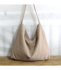 spalla borsa per il tempo libero a mano in cotone e linea casual da donna