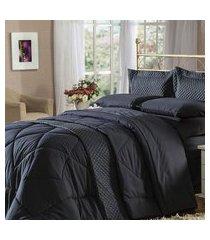 jogo de cama quenn 4 peças preto soft touch plumasul