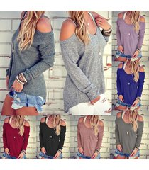 women's autumn loose o neck off shoulder long sleeve knitted sweater