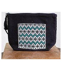 cotton cosmetic bag, 'viridian zigzags' (mexico)