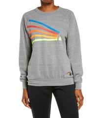 aviator nation daydream sweatshirt, size xx-large in heather grey/neon rainbow at nordstrom