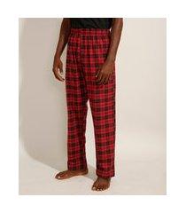 calça de pijama em flanela estampada xadrez com bolso vermelha