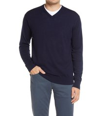 peter millar crown wool & silk v-neck sweater, size large in navy at nordstrom