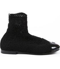 chanel black knit patent leather cc cap toe ankle boots black sz: 7