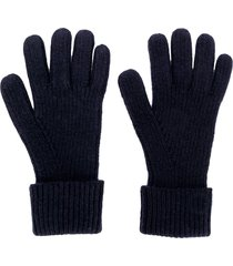 n.peal ribbed knitted gloves - blue