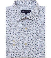 camisa dudalina manga longa tricoline estampa floral masculina (estampado 3, 7)