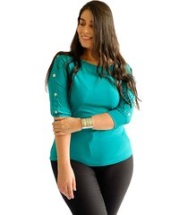 blusa botones en manga verde plica