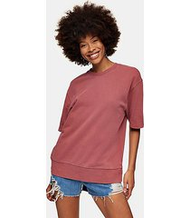 topman washed burgundy short sleeve sweatshirt - dark rose