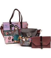 bolso rosa-multicolor nicole lee