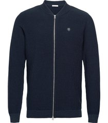 field pique badge knit cardigan - g gebreide trui cardigan blauw knowledge cotton apparel