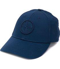stone island logo baseball cap - blue