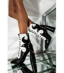 akira azalea wang talking this and that lace up embellished high heeled bootie